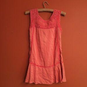 Silk free people embroidered sleeveless tunic xs
